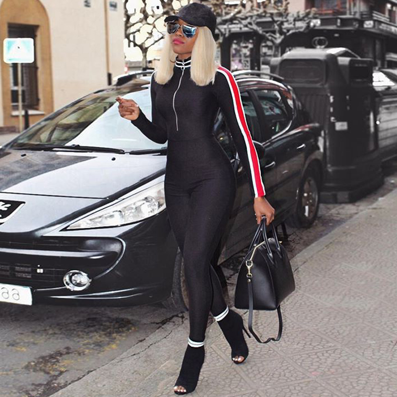 Women One Piece Front Zipper Jumpsuit Striped Ribbon Long Sleeve Stretch Pants Outfits Romper Streetwear Female Catsuit Tights