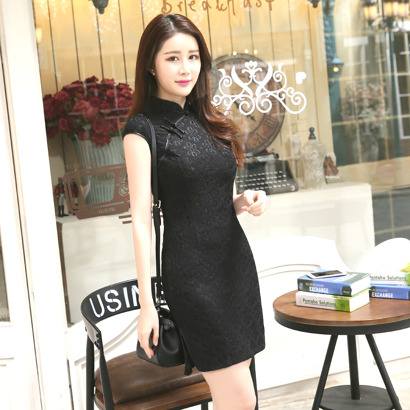 SHENG COCO Sexy Black Chinese Style Qipao Dresses Slim Thin Lace Cheongsam Summer Fashion Improvement Vintage Chipao