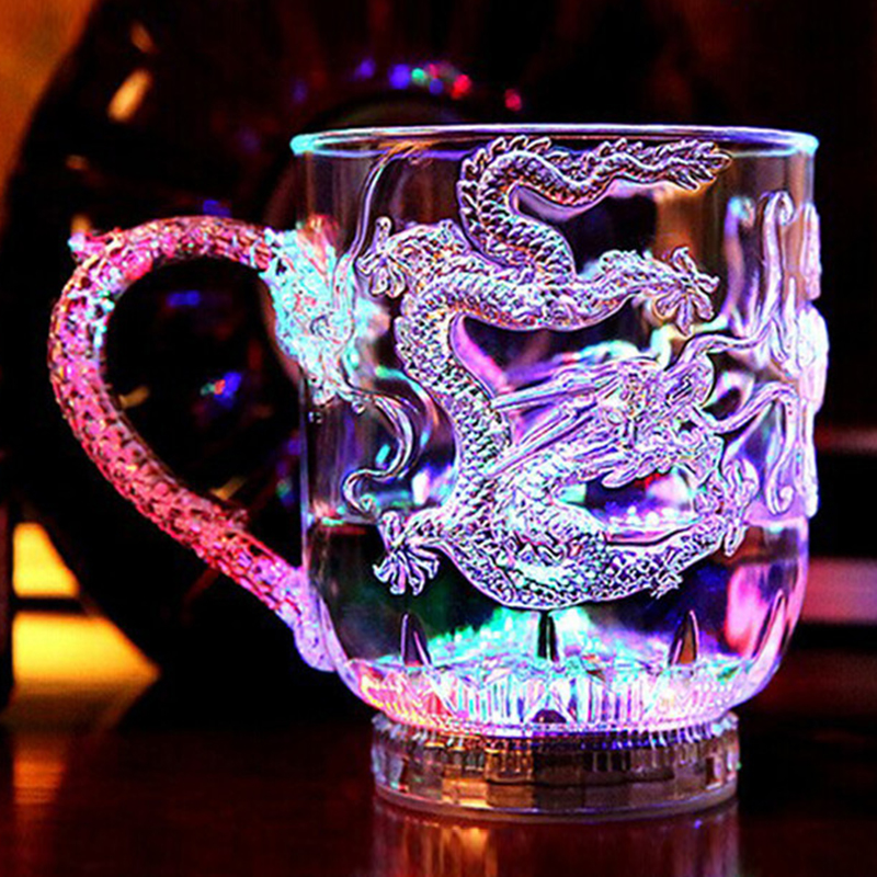 LED Flash Magic Color Changing Dragon <font><b>Cup</b></font> Water Activated Light-Up <font><b>Beer</b></font> Coffee Milk Tea Wine Whisky Bar Mug travel Creative Gift image