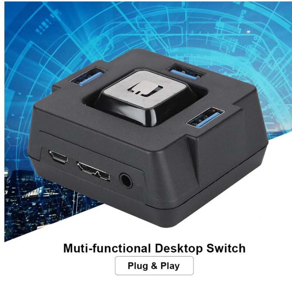 Computer PC Desktop External Power Switch Reset Button 3 Port USB 3.0 2 Port Audio With Sound Card