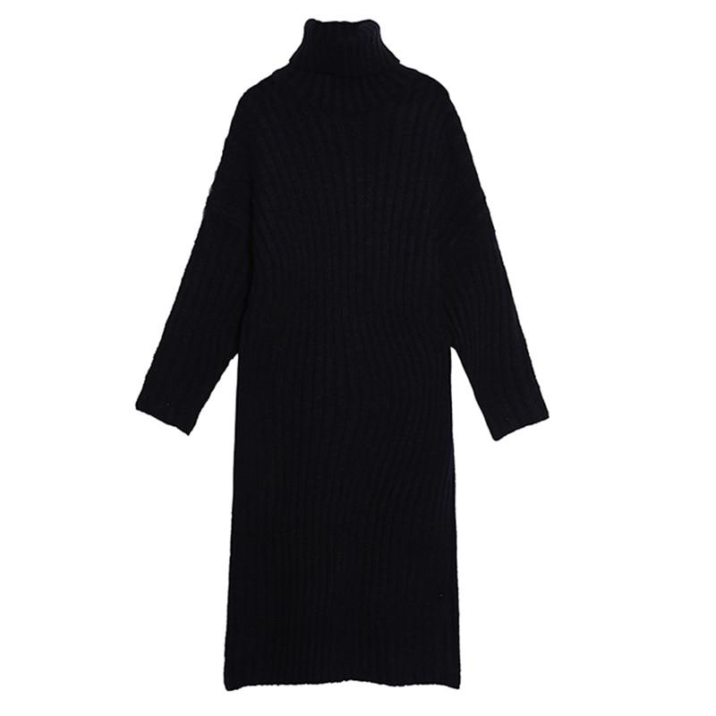 Robes orange Noir Black Lâche Vêtements Marée Robe Dress Tricoté Féminine Roulé blue Casual Chicever Dress Mode Manches Hiver Automne Dress Col souris De Femmes Chauve xHPnOgwq6