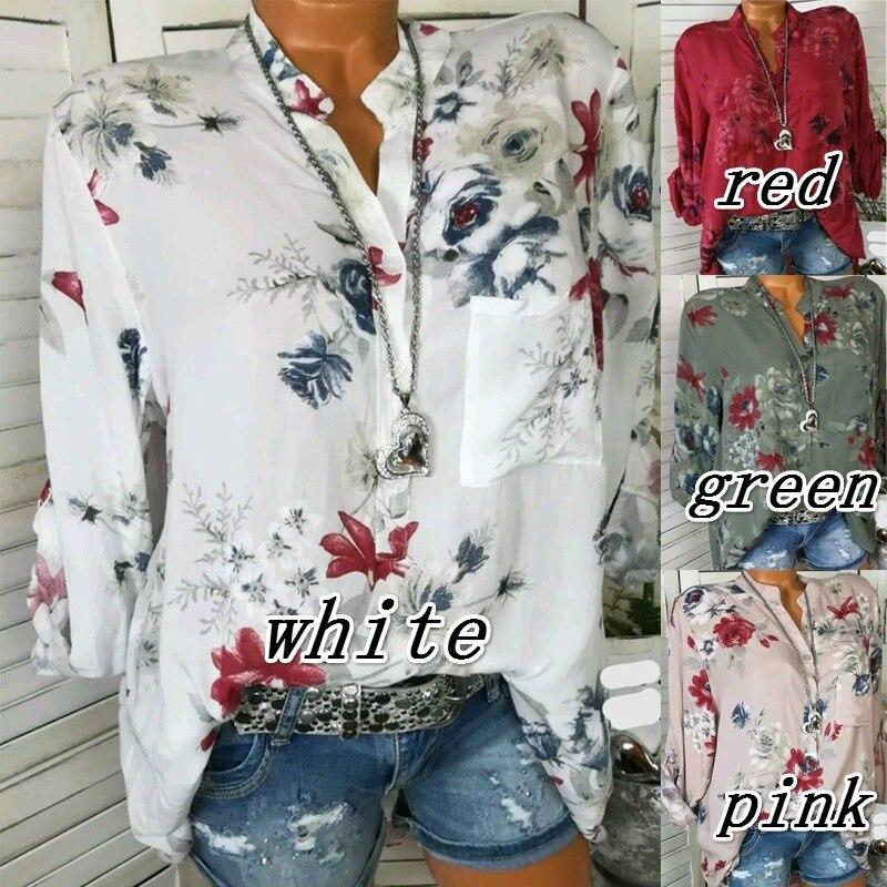 2019 Flower Printing V Neck Long Sleeve Shirt Women Chiffon Blouse Casual White Shirts Elegant Ladies Loose Tops Plus Size 5XL