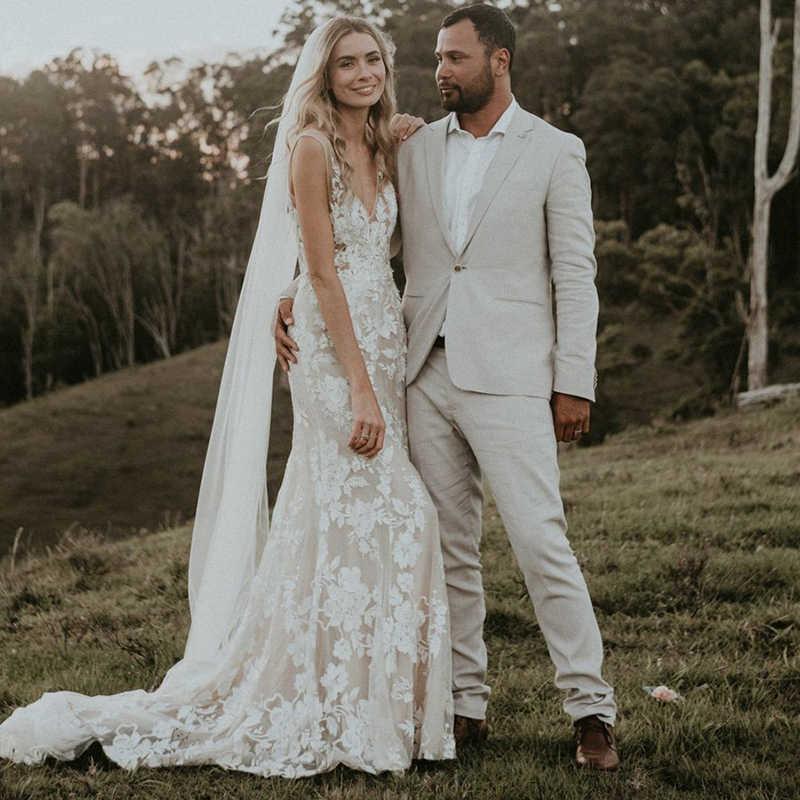 Eightale Boho Wedding Dresses 2019 V Neck Appliques Lace Sexy Backless Mermaid Bride Dress Plus Size Wedding Gowns Trouwjurk