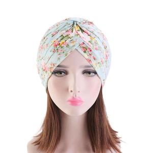 Image 2 - Indian Turban Muslim Women Floral Printed Hat Cancer Chemo Cap Islamic Hair Loss Cover Beanie Bonnet Head Scarf Pleated Caps Hat