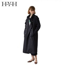 HYH HAOYIHUI  Simplicity Double-breasted Lapel Waist Knot Loose Shoulder Sleeve Emblem Medium Length Fund Pure Color Windbreaker