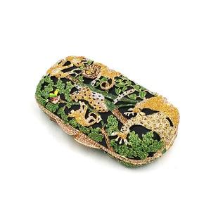 Image 4 - Porte monnaie en cristal pour femmes pour fête de mariage, sac de soirée de luxe, diamants, mode animal de la jungle, pochette en cristal