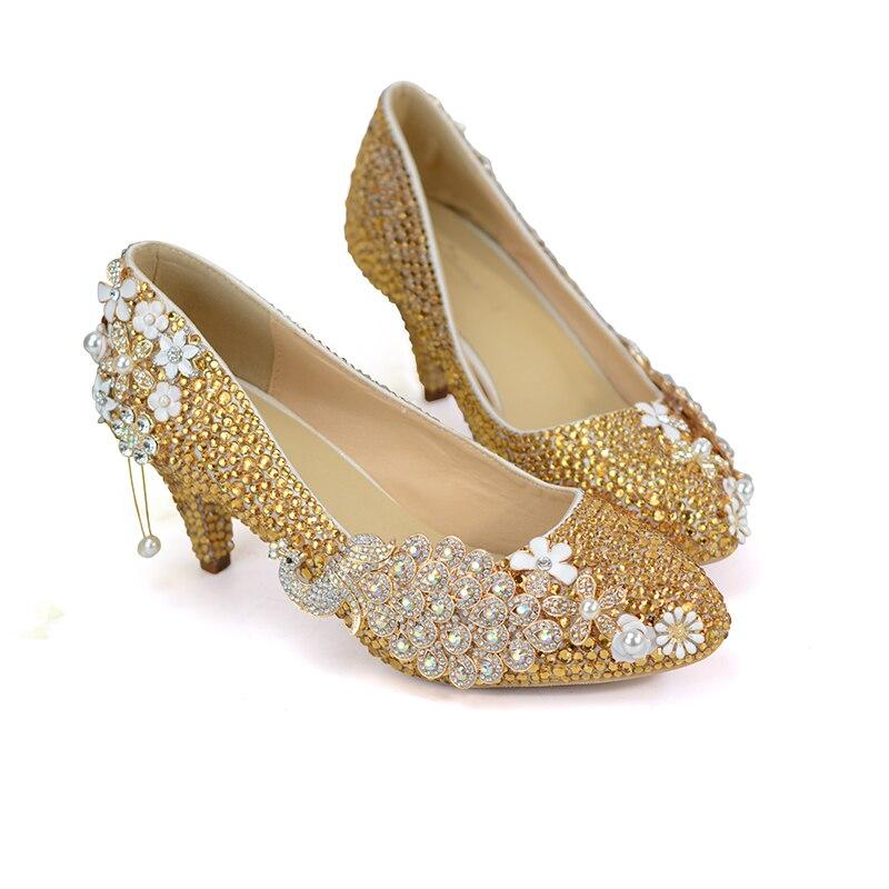 Pompes Pointu Mariée Cristal Danse 6cm De Bout Strass Chaussures Noce Or Heels Talon Bal Graduation Mère Moyen Gold 51gqn0w