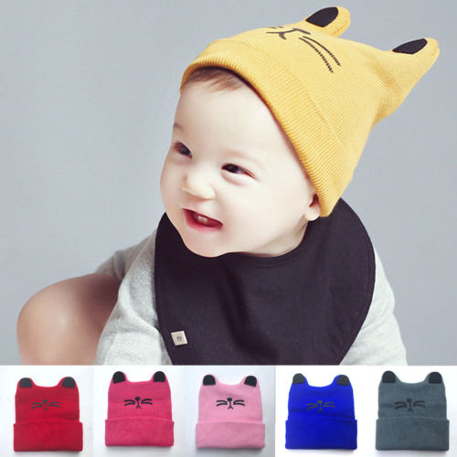 0-2t Baby Boy Girl Infant Toddler Cotton Elastic Spring Autumn Hat Beanie Cap