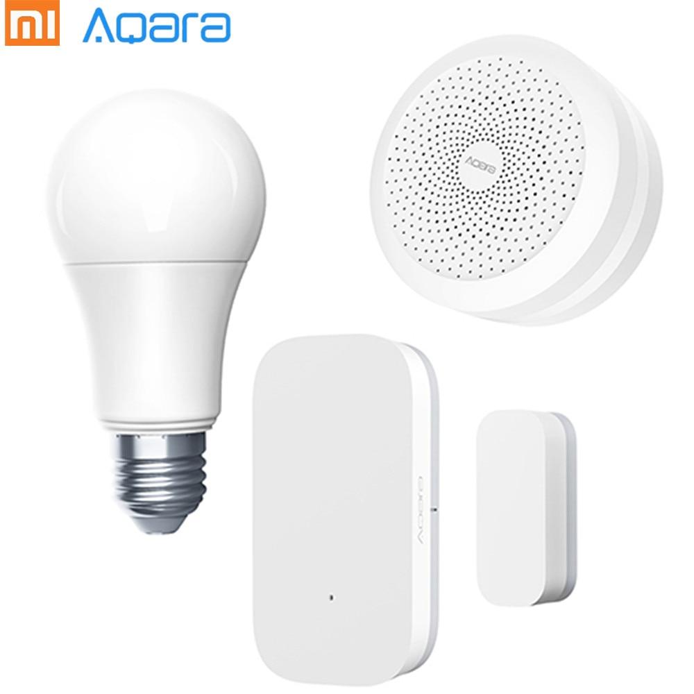 Original Xiaomi Aqara Smart Light Set passerelle + ampoule + porte fenêtre capteurs E27 Smart Home Kit Support App et commande vocale