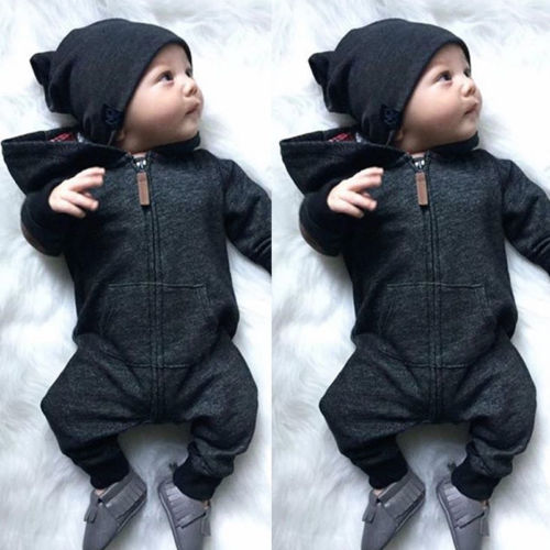 Kids Infant Baby Boy Clothes Long Sleeve Zipper Hooded   Romper   Jumpsuit Sunsuit Sweatshirt Autumn Warm Cotton Solid Outfit 0-2T