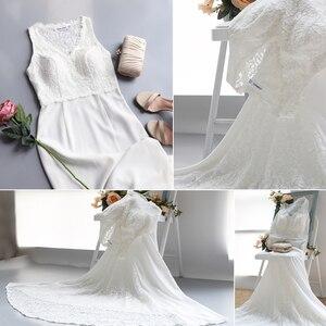 Image 4 - Élégant ivoire Robe De mariée Boho Robe De Mariee Simple une ligne col en V sans manches dentelle robes De mariée balayage Train Vestido De Noiva