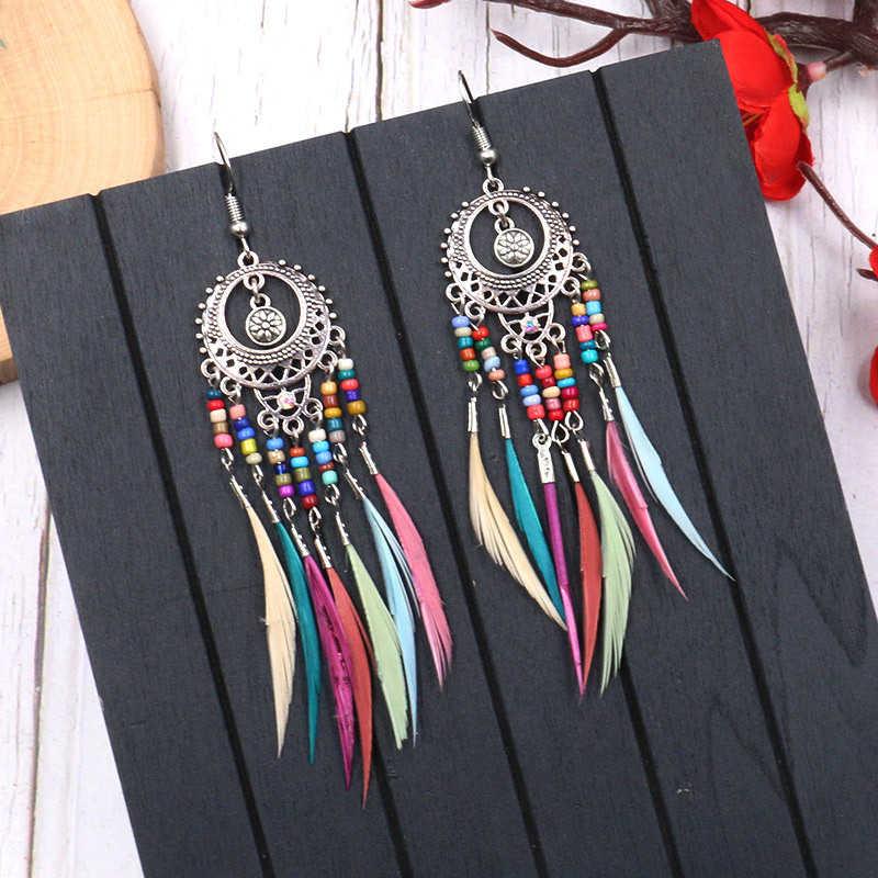 2019 Silver Silver Vintage Rainbow ลูกปัด Feather Dangle Drop ต่างหูสำหรับผู้หญิงหญิง Boho เครื่องประดับอุปกรณ์เสริม