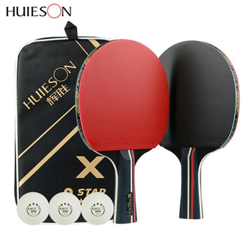 Huieson 3 Star Table Tennis Rackets Set Double Face Pimples-in Rubber Quick Attacked Ping Pong Racket With 3 Balls And Carry Bag