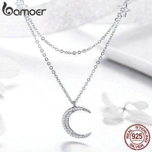 Image 3 - مجوهرات باموير الأصلية من الفضة الإسترليني عيار 925 بطبقات مزدوجة على شكل القمر والنجوم قلادات للنساء من الفضة الإسترليني BSN038