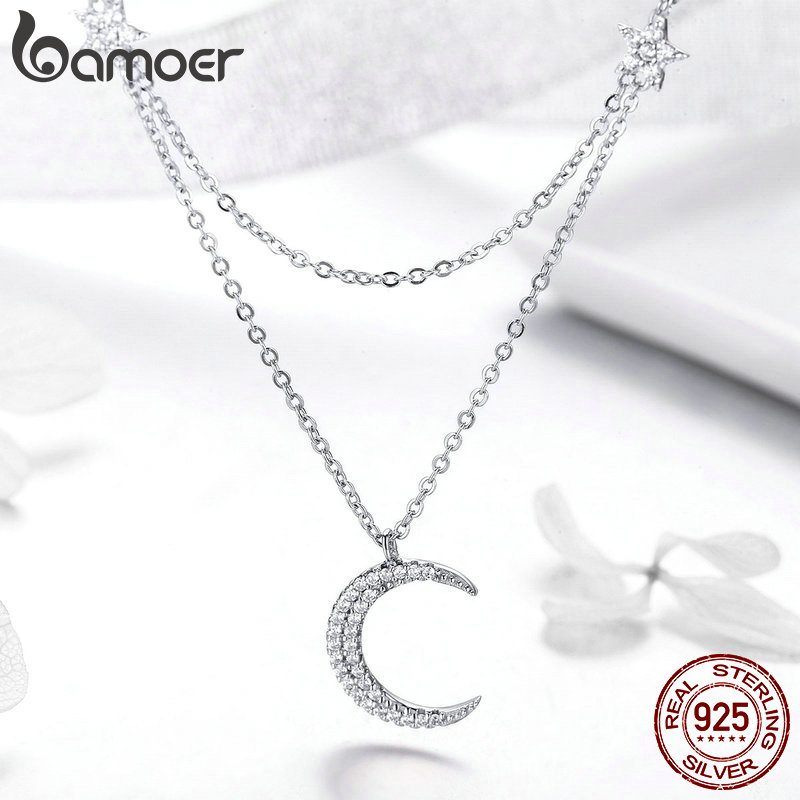 Image 3 - BAMOER Genuine 925 Sterling Silver Moon & Star Double Layers Chain Pendants Necklaces for Women Sterling Silver Jewelry BSN038-in Necklaces from Jewelry & Accessories