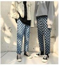 Women Men Fashion Casual Denim Pants Jeans Checkerboard Long Straight Plaid