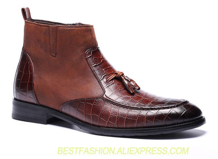 6bb5321a13de6 Chocolate Oxford Dos Tornozelo Classique Casuais Dedos Sapatos Botas  Patchwork Homens Masculino Vestido Apontou Homme Negócio 6qtr6CwxnU