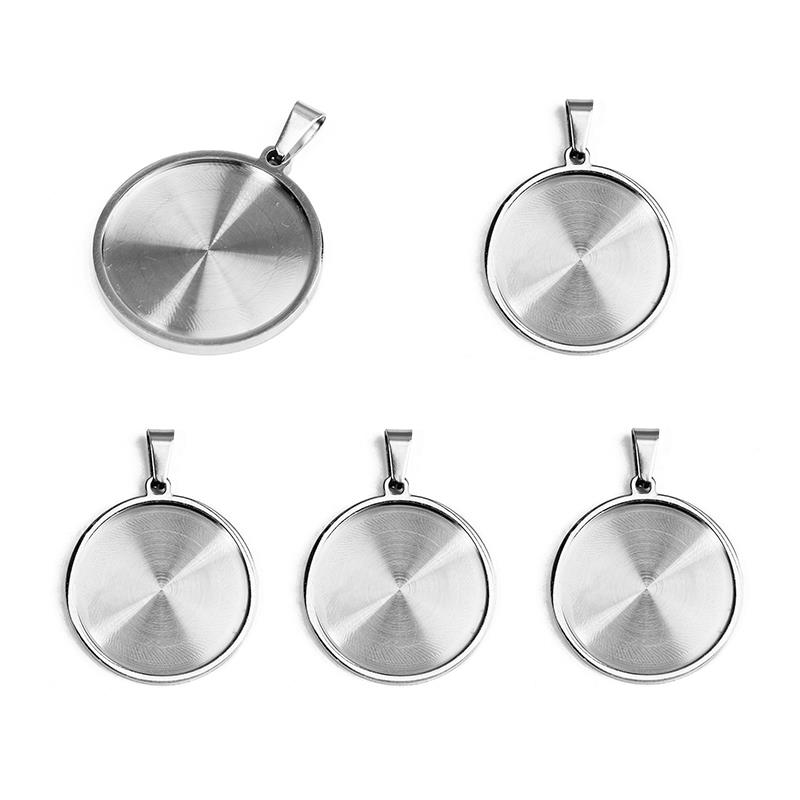 5pcs Lot Stainless Steel Round Cabochon Pendant Settings Bail Clasps 25mm Blank Base Bezel Jewelry Making DIY Necklace Component in Jewelry Findings Components from Jewelry Accessories