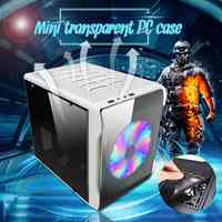 S SKYEE SGCC Mini Transparent PC Gamer Cooling Case Computer Small Air Chassis For ITX Motherboards Vertical Dust-Proof Frame