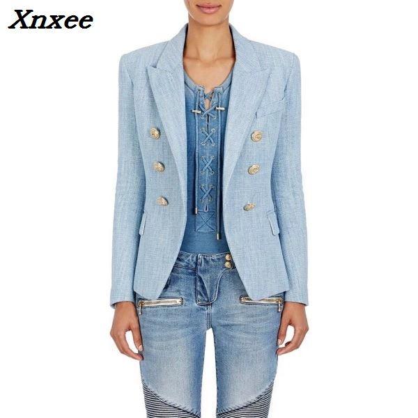 Kadın Giyim'ten Blazerler'de Kadın blazer uzun kollu kruvaze metal aslan düğmeleri ceket ceket resmi ofis bayan moda blazer feminino giyim'da  Grup 1