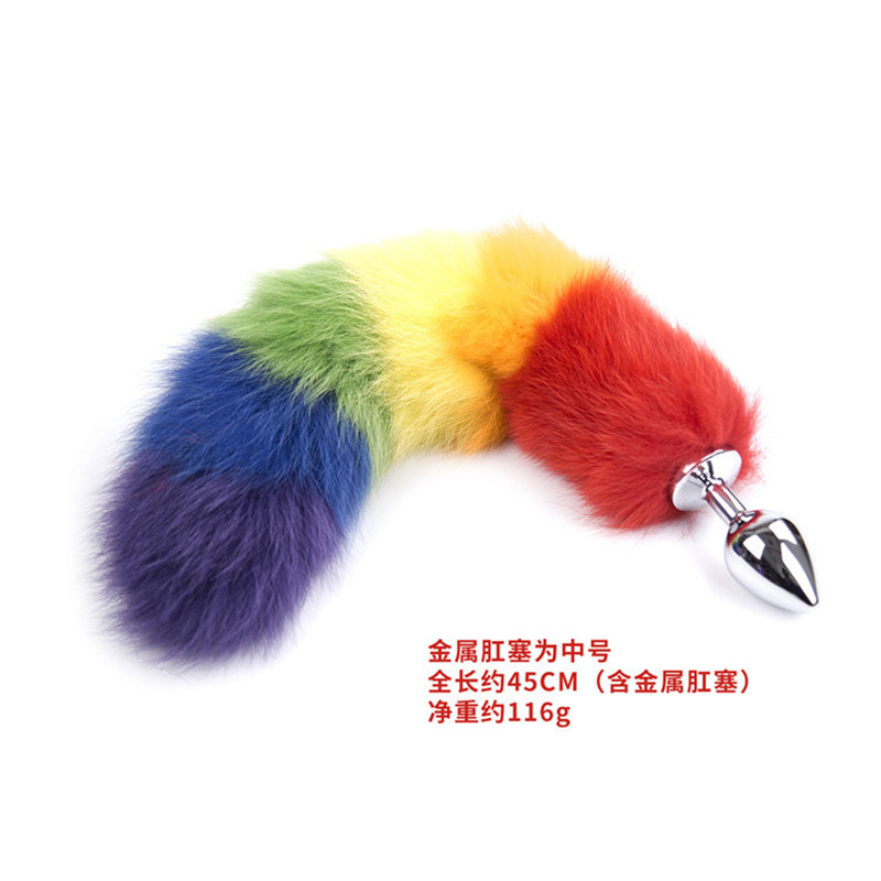 Long Colorful Fox Tail Anal Stainless Steel Anal Plug Metal Dildo Anal Plug Anal -1113