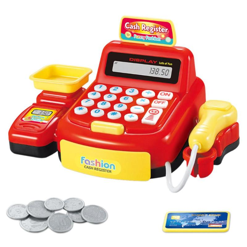 Simulated Supermarket Checkout Counter Role Cashier Cash Register Toy Learning Educational Pretend Play House Set For Kids Gifts