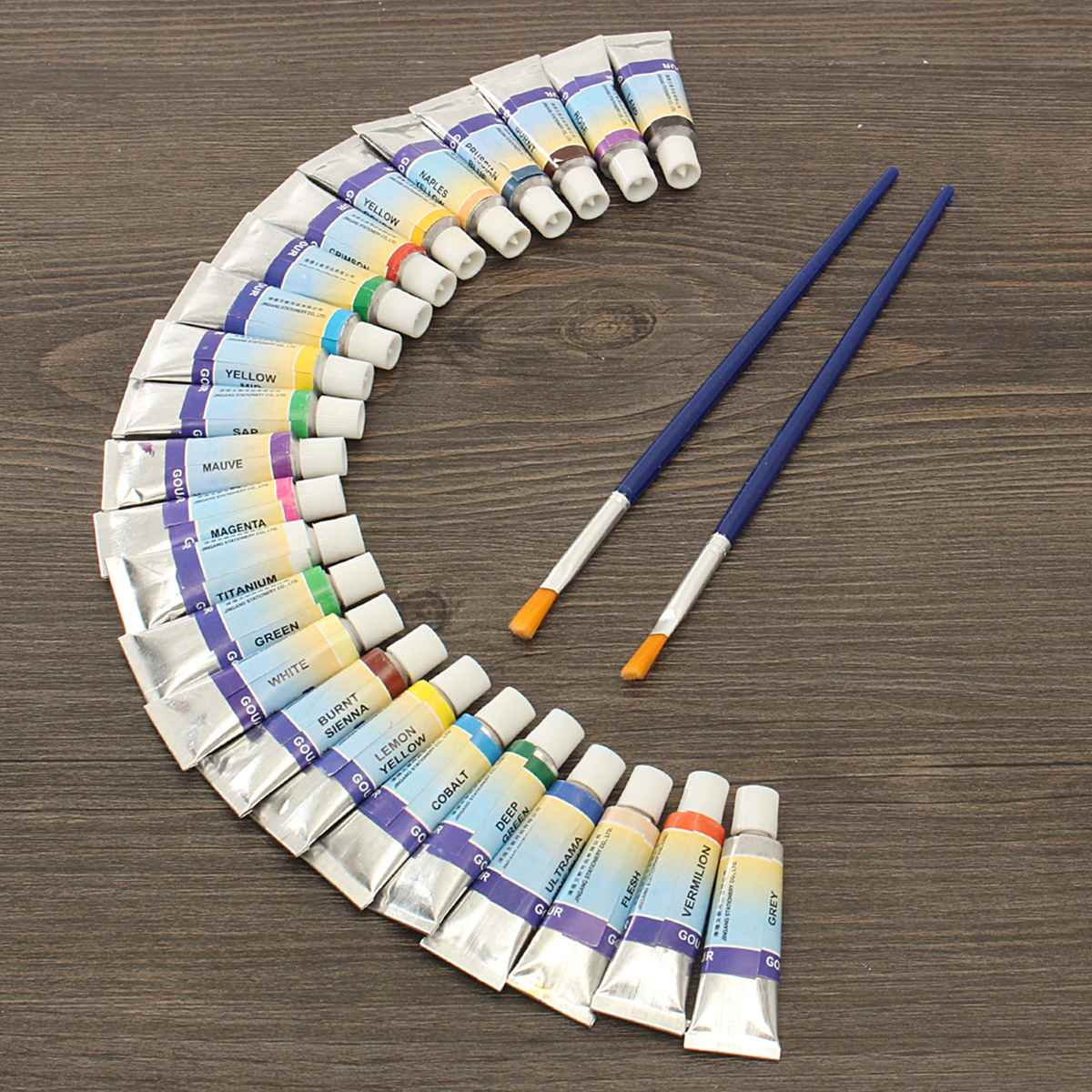 Professional 24 Colors 5ml Paint Tube Gouache Drawing Watercolor + 2 Brushes for Artist School Student Water Paint Hand PaintedProfessional 24 Colors 5ml Paint Tube Gouache Drawing Watercolor + 2 Brushes for Artist School Student Water Paint Hand Painted