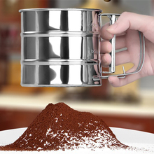 Kitchen Tools Stainless Steel Mesh Flour Sifter Mechanical Baking Icing Sugar Shaker Sieve Tool Cup Shape wholesale drop ship sifters shakers stainless steel mesh flour sifter mechanical baking icing sugar shaker sieve tool cup shape kitchen tools