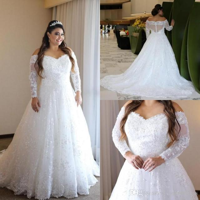 769662bd04 Elegant Lace Plus Size Wedding Dresses Off The Shoulder Sheer Long Sleeves  Bridal Gowns A Illusion Back Train Vestidos De Novia
