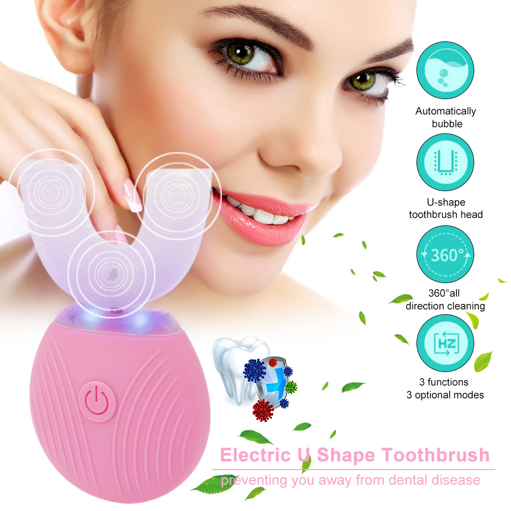 Electric Toothbrush U Shape Teeth Whitening Brush Dental Care Automatic Teeth Rechargeable Teeth Whitening Brush for Oral Care