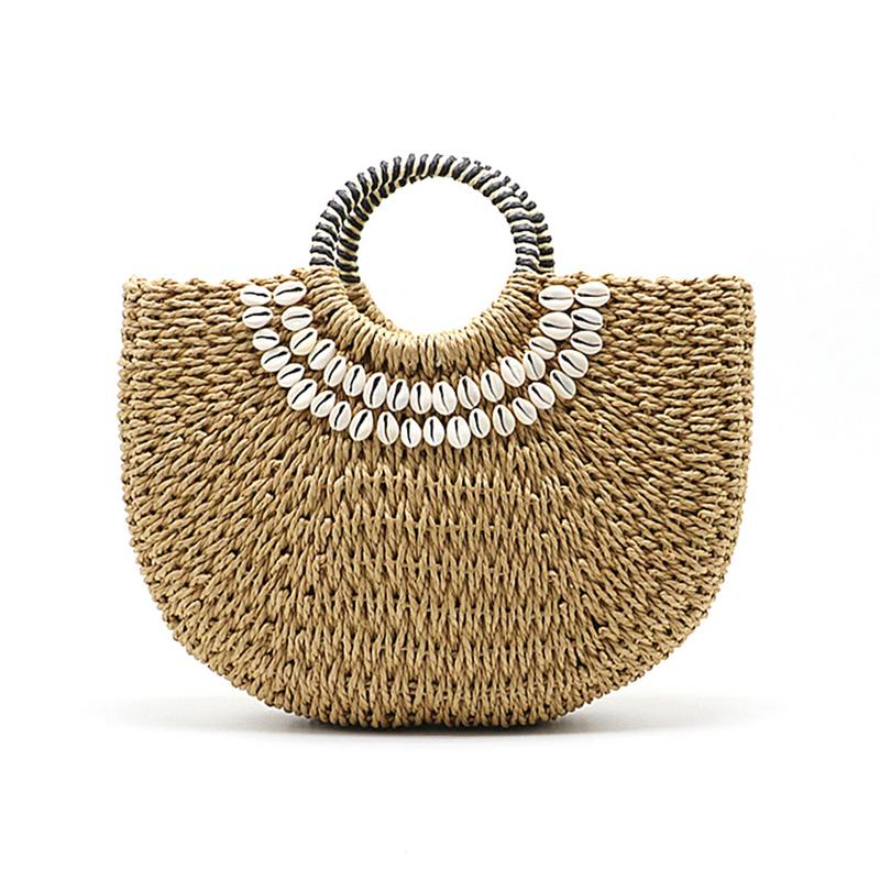 Handmade Hand Woven Straw Bags Shell Beach Handbag Tote Wrapped Moon Shape Bohemian Straw Bag For Women In Summer Handbags Totes(China)