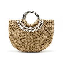 Handmade Hand Woven Straw Bags Shell Beach Handbag Tote Wrap
