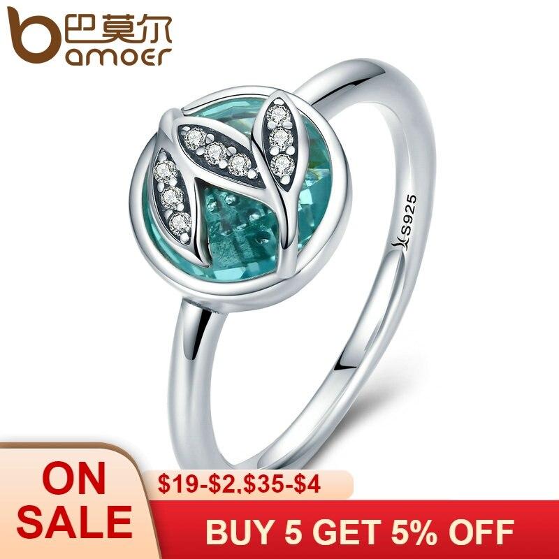 BAMOER genuino de alta calidad de la plata esterlina 925 Árbol de la vida de anillos de dedo para las mujeres verde AAA Zircon joyería de compromiso SCR105