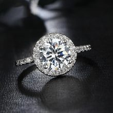 Beiver Big Round Cubic Zirconia Rings Fashion Wedding Jewelry Female Engagement Ring For Women Crystal Silver Color Party Gifts beiver big round cubic zirconia rings fashion wedding jewelry female engagement ring for women crystal silver color party gifts