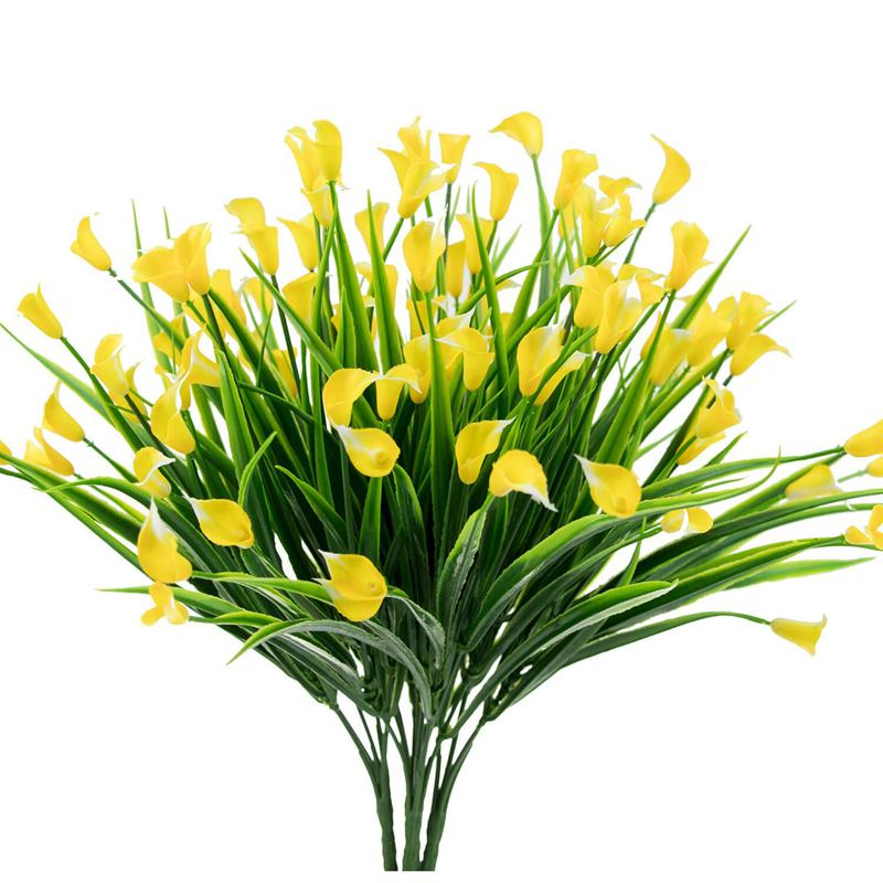 4 Pcs Artificial Flowers Outdoor Yellow Calla Lily Fake Plants Faux Shrubs Plastic Greenery Decor4 Pcs Artificial Flowers Outdoor Yellow Calla Lily Fake Plants Faux Shrubs Plastic Greenery Decor