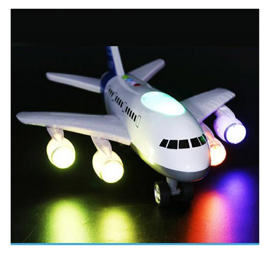 LIN TING HAN Oversized Will Tell The Story Of The Plane Early Education Light Music Airbus A380 Aircraft Boy Baby Glow Vocal Gif