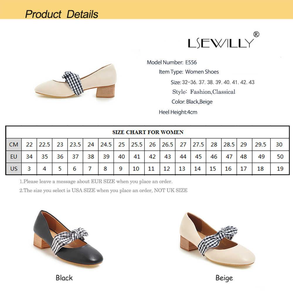 Lsewilly 2019 Spring Wanita Sepatu Square Ujung Sepatu Med Heels Sepatu Pernikahan Pesta Tenis Feminino Dasi Pompa e556