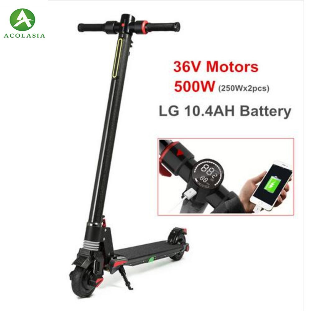 2018 New Engine Dual Carbon Fiber Folding Electric Scooter S5 500 W E Scooter Scooter - Comfortable For Adults With Lg Battery2018 New Engine Dual Carbon Fiber Folding Electric Scooter S5 500 W E Scooter Scooter - Comfortable For Adults With Lg Battery