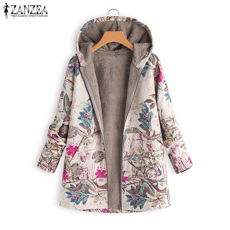 2019 ZANZEA Women Hoodeis Plush Fluffy Coats Autumn Warm Coat Winter Loose Overcoat Floral Printed Long Sleeve Faux Fur Jackets