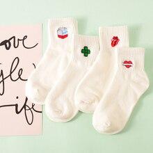 Cartoon Embroidered Threaded Socks  Women Cotton Short Socks Milk Clover Love Smile Face Rose Tongue Happy Socks Cotton  kawai graphic smile face embroidered sweatshirt