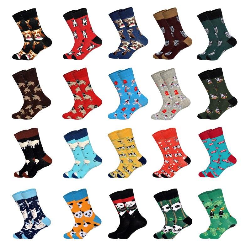 Novelty Men's Socks Colorful Socks Hocoks In Tube Casual Dog Panda Cow Sheep Pig Animals Design Soxs Cartoon Happy Meias