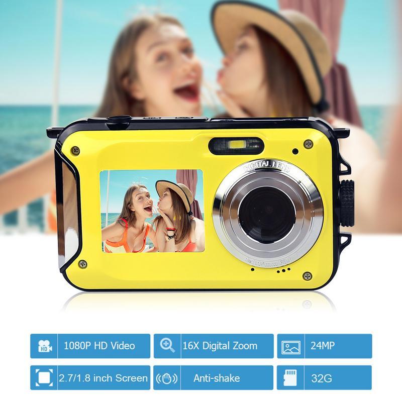 24 millions de Pixels 1080 P étanche appareil photo numérique 5 M 16X Zoom antichoc HD Cam 2.7 pouces LCD caméra prise en charge 8-32 GB carte mémoire
