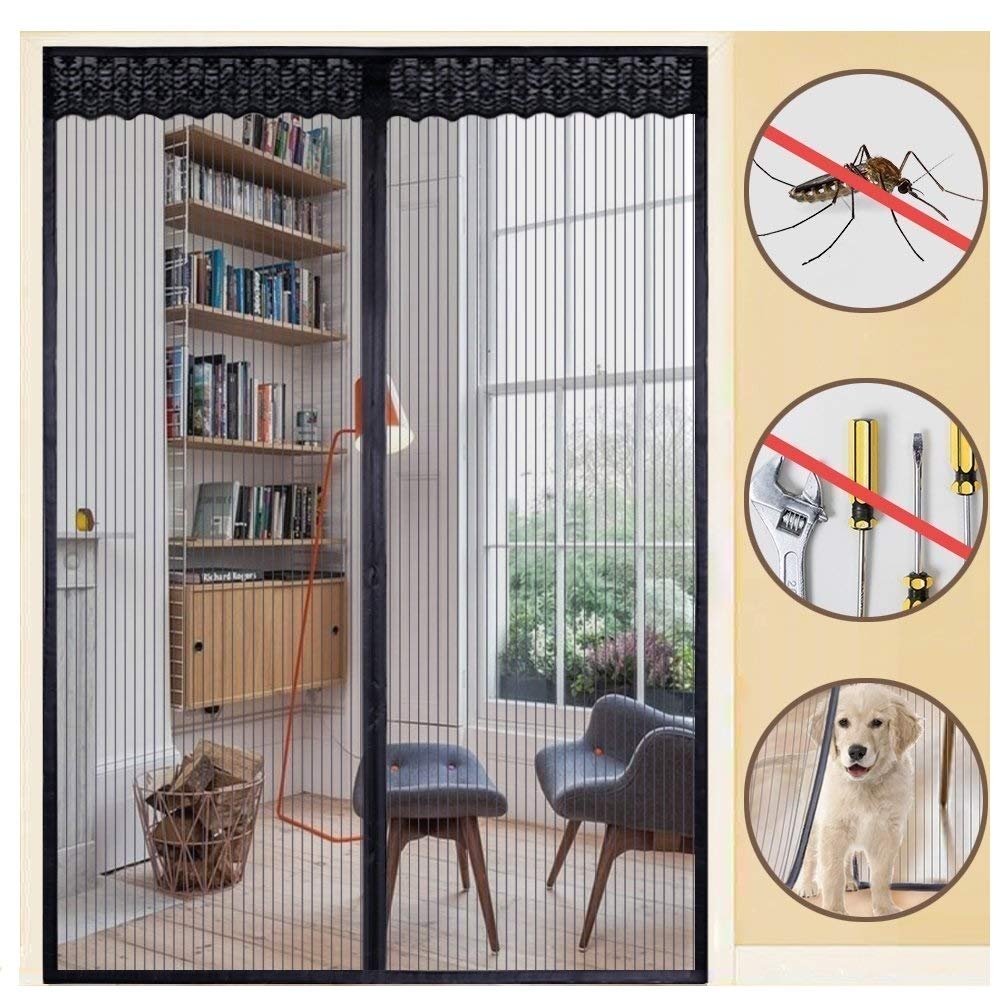 Summer Anti Mosquito&Fly Insect Bug Net Curtains Magnetic Door Screen Heavy Fabric Screen Full Frame Adhesive Door Screen Mesh