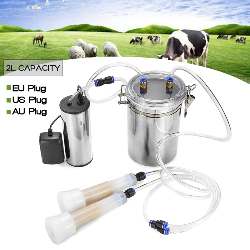 2L Stainless Steel Electric Cow Milking Machine 75Kpa Vacuum Pump Milker Double Head EU/US/AU Plug Milking Machine 110V 220V