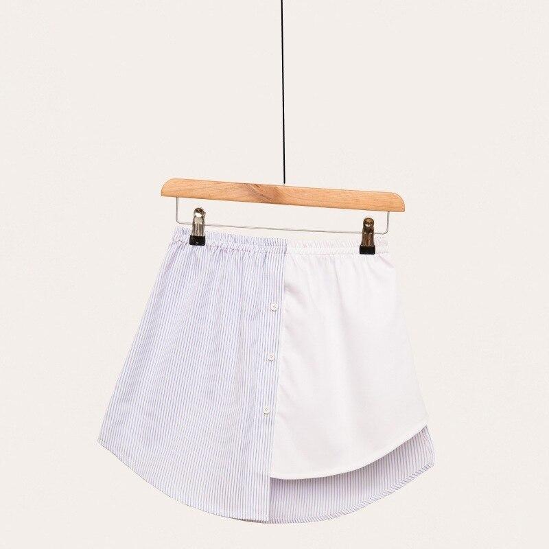 New 2019 Stripe Spelling Color Irregular False Shirt Skirt Half-body Skirt Female Skirts Wholesale Drop Shipper
