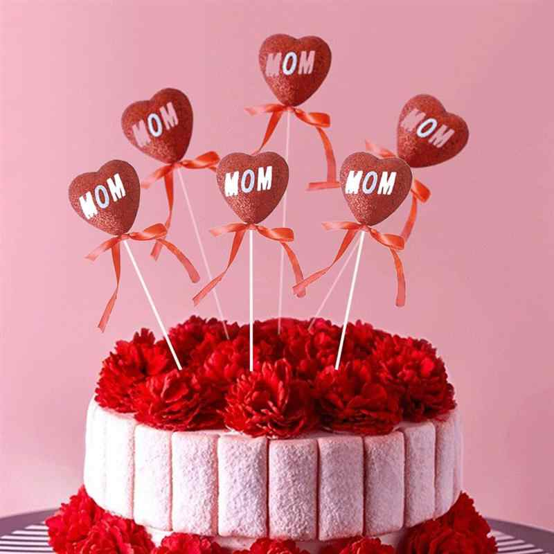 6 шт. Toppers лента бант Счастливый День матери сладкое сердце шелковые выборки для украшения десерт торт ко дню рождения