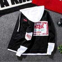 купить #3408 Spring 2019 Hip Hop Mens Denim Jacket Hooded Homme Patchwork Letter Print Slim Ripped Black Jeans Jacket Men Streetwear дешево