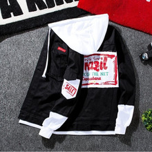 #7413 Spring 2019 Hip Hop Mens Denim Jacket Hooded Homme Patchwork Letter Print Slim Ripped Black Jeans Jacket Men Streetwear недорого
