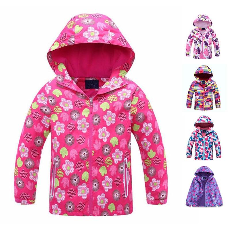 Waterproof Girls Jackets Toddler Autumn Jacket Outdoor Children's Clothing Sports Hoodies Coat Fleece Warm Outerwear