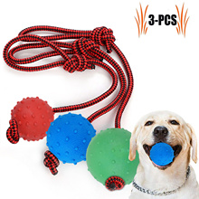3PCS Pet Chew Toy Portable Thorn Ball Dog Toy Bite-Resistant Rubber Ball Molar Training Dog Toy Red Blue Green Different Sizes